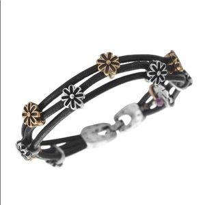 Two Tone Flower Woven Leather Bracelet